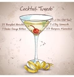 Tuxedo alcoholic cocktail vector