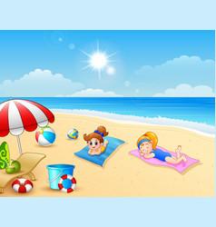Two girl sunbathing on the beach mat vector