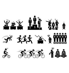 Unsuccessful and failure businessman pictogram vector