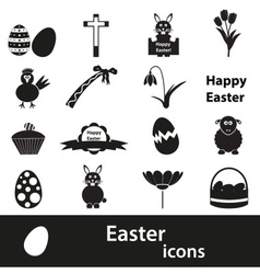 various black Easter icons set eps10 vector image