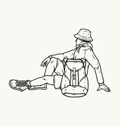 Vintage concept tired tourist man vector