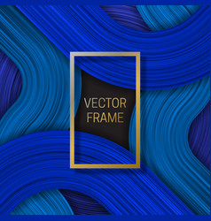 Volumetric frame on saturated background in blue vector