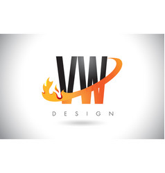 vw v w letter logo with fire flames design and vector image
