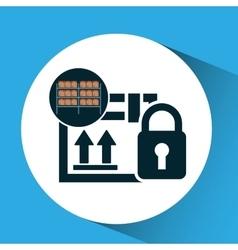 Warehouse box padlock security icon vector