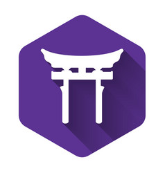 White japan gate icon isolated with long shadow vector