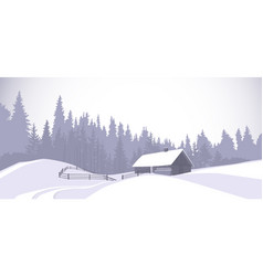 winter landscape countryside snowy house with pine vector image