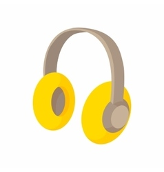 Yellow protective headphones icon cartoon style vector image