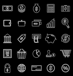 Money line icons on black background vector image vector image