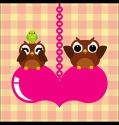 owls bird couple in love vector image vector image