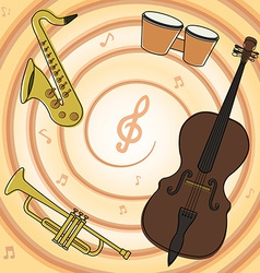 Set of jazz music instruments vector image
