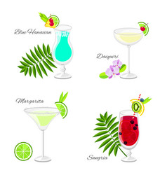 Set of summer cocktails cartoon style vector