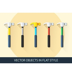 Set of hammer in a flat style with shadow vector image
