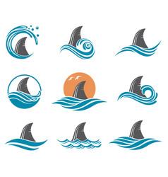 shark fin icon set vector image vector image