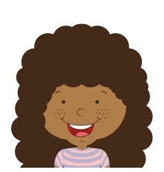 Silhouette half body girl smiling with curly hair vector