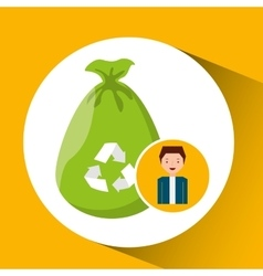 cute boy recycle ecology icon plastic bag trash vector image vector image