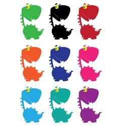 dino cartoon funny color vector image