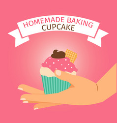 homemade baking with pink cupcake vector image