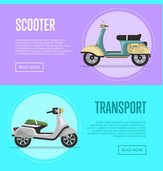 New scooter flyers with classic city mopeds vector
