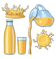 splashing and pouring orange in bottle glass jug vector image