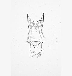 underwear body white vector image