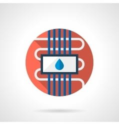 Water floor heating round color flat icon vector image vector image