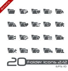 Folder Icons Basics vector image vector image