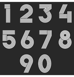 Numbers set hipster parallel offset thin lines vector image
