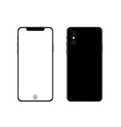 phone mockup with blank screen back and front vector image vector image
