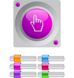 Pixel hand color round button vector image vector image