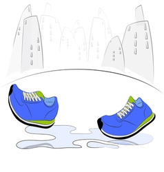 Sneakers walking through puddles in the city vector image vector image