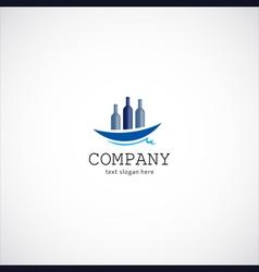 wine ship company logo vector image