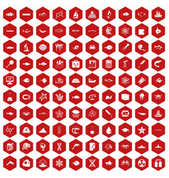 100 oceanology icons hexagon red vector