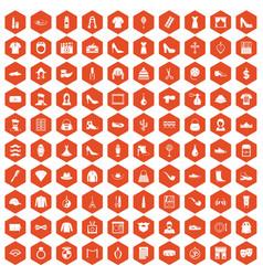 100 stylist icons hexagon orange vector