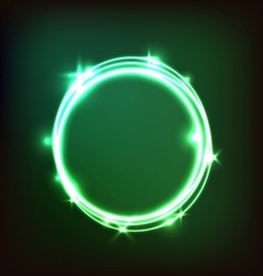 Abstract glowing green background with circles vector