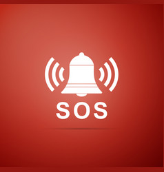 Alarm bell and sos lettering warning bell help vector