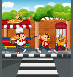 Animals selling pizza in park vector