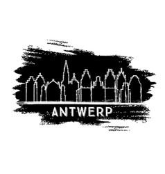 Antwerp belgium city skyline silhouette hand vector