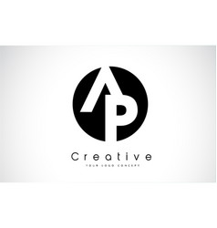 ap letter logo design inside a black circle vector image