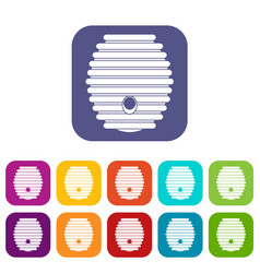 Beehive icons set vector