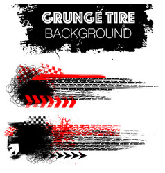 Black and red grunge tire banners vector
