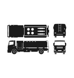 black silhouette of air fuel truck vector image