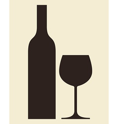 Bottle wine and glass vector