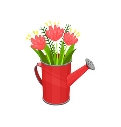 bouquet of fresh spring flowers in bright red vector image
