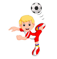 Boy cartoon playing football vector