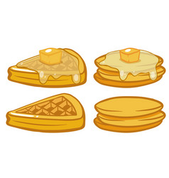 Breakfast set with pancakes and waffles vector