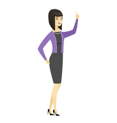 business woman pointing with her forefinger vector image