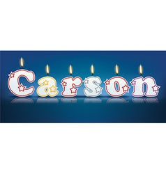 CARSON written with burning candles vector image