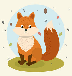 Cartoon fox wild animal with falling leaves vector