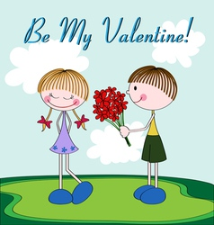 Cartoon Valentine card with girl and boy vector image vector image