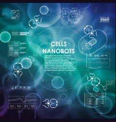 Cell background with futuristic interface elements vector